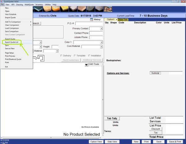 Highlighting the export quote list menu option in QuickQuote countertop software