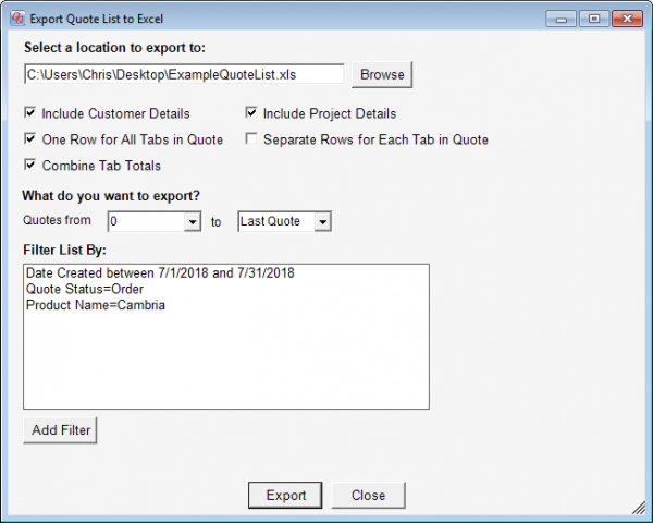 Filtering the quote list by several criteria in QuickQuote countertop software