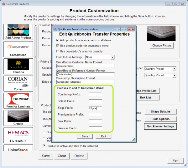 Prefix settings to use when transferring different kinds of items from QuickQuote to QuickBooks