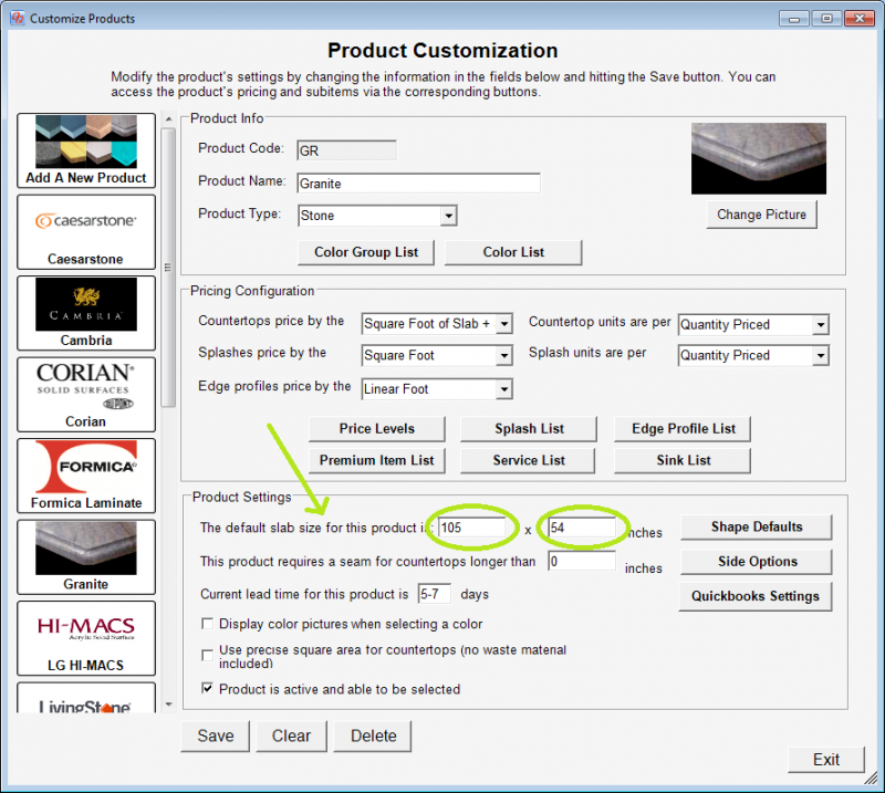 The product's default slab size in QuickQuote countertop software