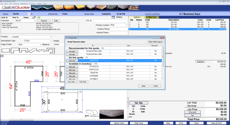 New Slab Manager in QuickQuote Countertop Software