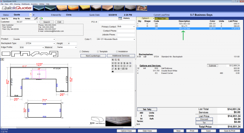 Double-click the line item for a slab to open the slab manager in QuickQuote countertop software