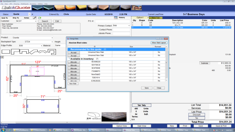 Slab manager in QuickQuote countertop software
