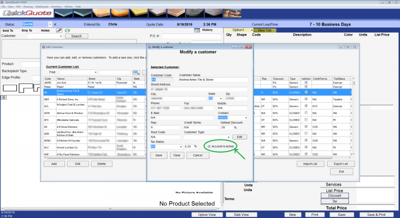 The active customer setting for a customer in QuickQuote countertop software