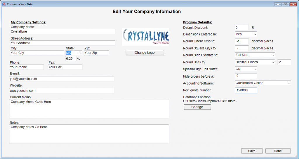 The updated Company Information utility with the next quote number setting